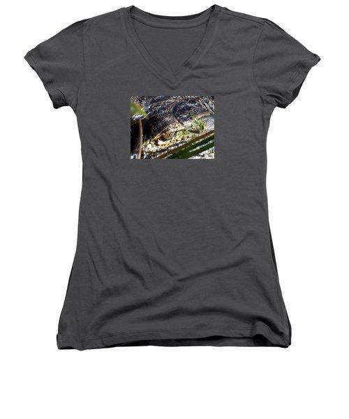 Alligator Eye  Women's V-Neck T-Shirt (Junior Cut) by Chris Mercer