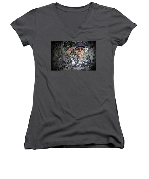 Bank Security Officer - On A Rainy Day Women's V-Neck T-Shirt (Junior Cut) by Ian Gledhill