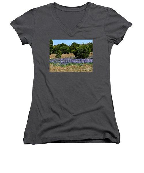 Women's V-Neck T-Shirt (Junior Cut) featuring the photograph  Bluebonnet Trail - No.2016 by Joe Finney