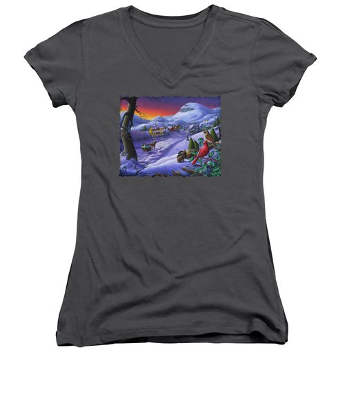 Christmas Sleigh Ride Winter Landscape Oil Painting - Cardinals Country Farm - Small Town Folk Art Women's V-Neck T-Shirt