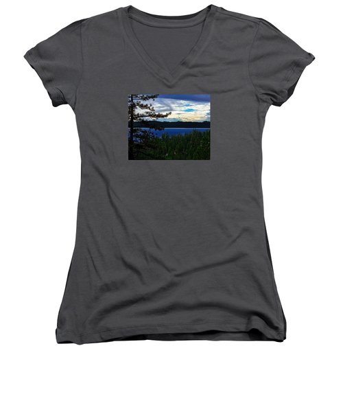 Women's V-Neck T-Shirt (Junior Cut) featuring the photograph  Chrystal Blue Waters by B Wayne Mullins