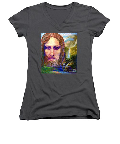 Contemporary Jesus Painting, Chalice Of Life Women's V-Neck T-Shirt (Junior Cut) by Jane Small