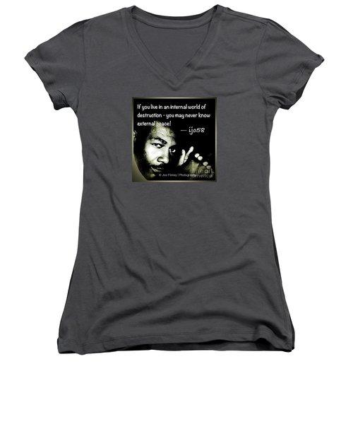 Women's V-Neck T-Shirt (Junior Cut) featuring the photograph  External Peace - No. 2015 by Joe Finney