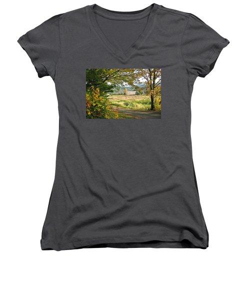 Fall At Grays River Covered Bridge Women's V-Neck T-Shirt