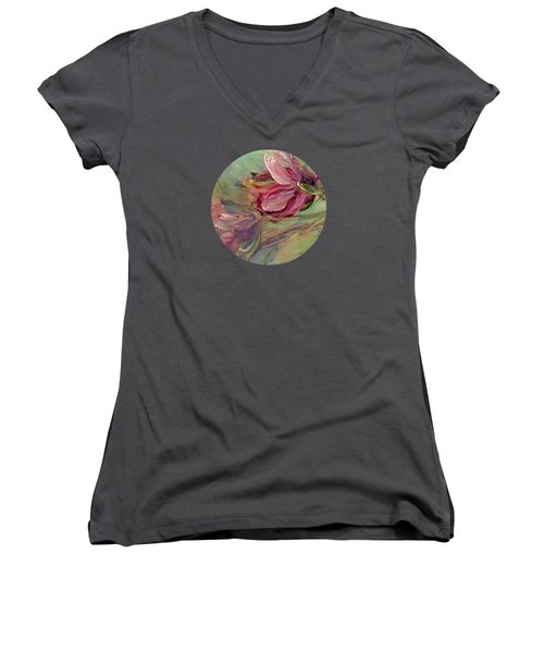 Flower Blossoms Women's V-Neck T-Shirt (Junior Cut) by Mary Wolf