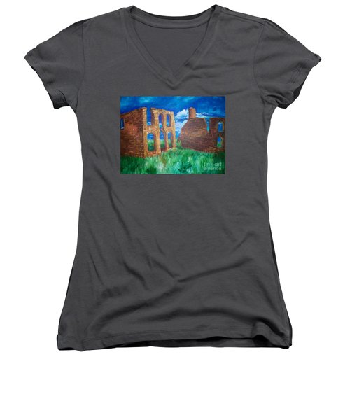 Women's V-Neck T-Shirt (Junior Cut) featuring the painting  Ghost Town  by Eric  Schiabor