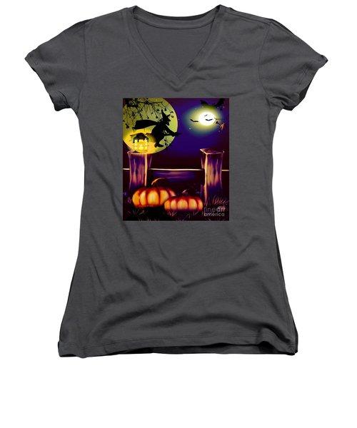 Halloween Witches Moon Bats And Pumpkins Women's V-Neck T-Shirt (Junior Cut) by Annie Zeno