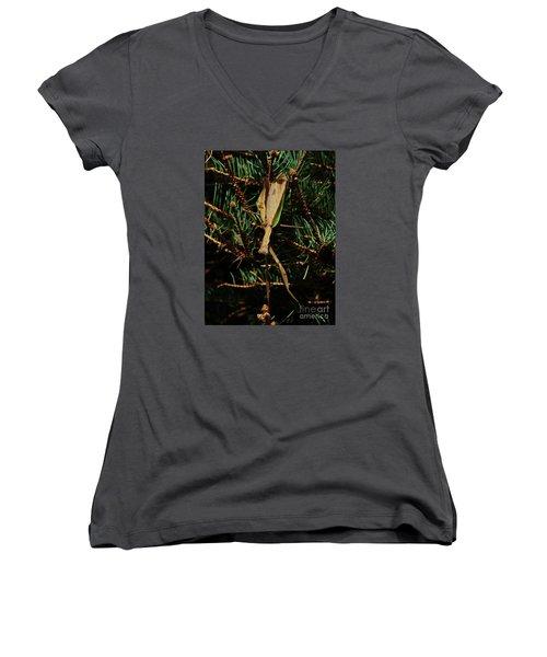 Women's V-Neck T-Shirt (Junior Cut) featuring the photograph  Hanging Mantis  by J L Zarek