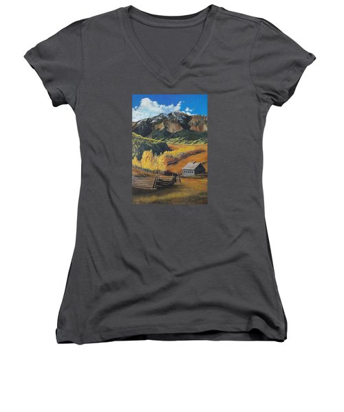 Women's V-Neck T-Shirt (Junior Cut) featuring the painting  I Will Lift Up My Eyes To The Hills Autumn Nostalgia  Wilson Peak Colorado by Anastasia Savage Ealy