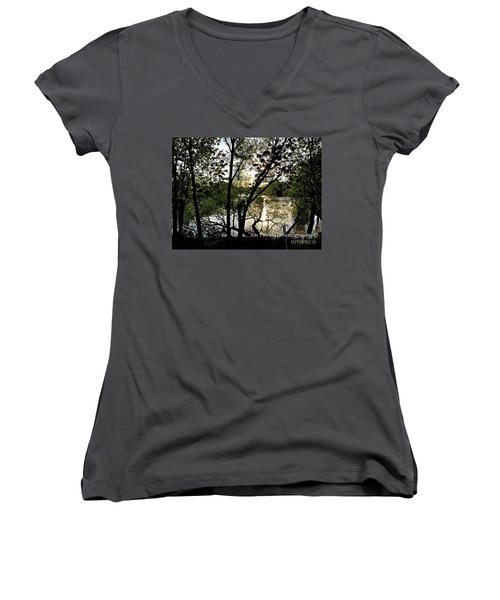 Women's V-Neck T-Shirt (Junior Cut) featuring the photograph  In The Shadows  - No. 430 by Joe Finney