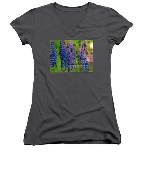 Women's V-Neck T-Shirt (Junior Cut) featuring the painting  Lois Love Of Lupine by FeatherStone Studio Julie A Miller