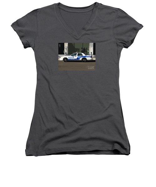 Montreal Police Car Poster Art Women's V-Neck