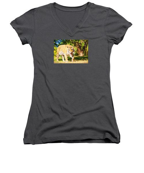 Women's V-Neck T-Shirt (Junior Cut) featuring the painting  On The Prowl by Judy Kay