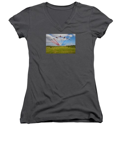 Red Arrows Running In At Brize Women's V-Neck T-Shirt