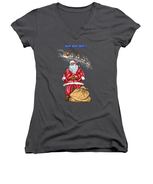 Women's V-Neck T-Shirt (Junior Cut) featuring the painting  Santa Claus by Andrzej Szczerski