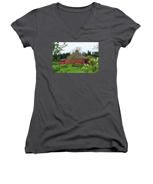Spring At The Round Barn Women's V-Neck T-Shirt