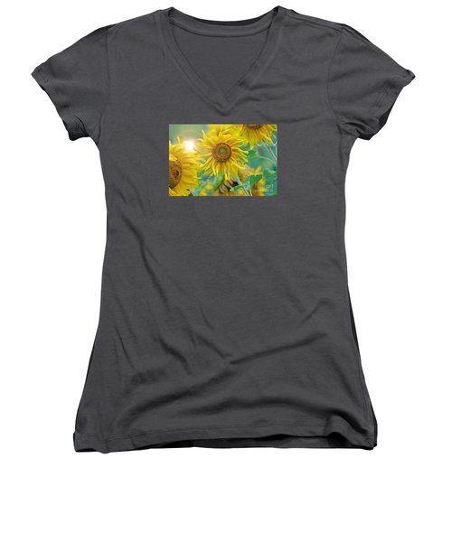 Women's V-Neck T-Shirt (Junior Cut) featuring the photograph  Sunflower by Lila Fisher-Wenzel