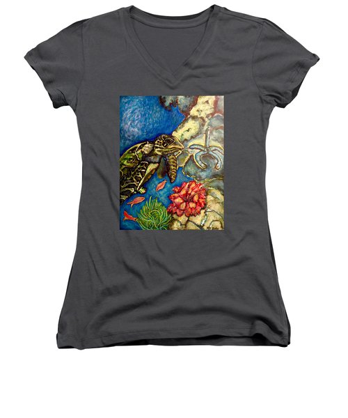 Sweet Mystery Of The Sea A Hawksbill Sea Turtle Coasting In The Coral Reefs Original Women's V-Neck T-Shirt