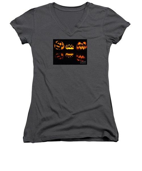 Women's V-Neck T-Shirt (Junior Cut) featuring the photograph  Texas Halloween - No. 2015 by Joe Finney