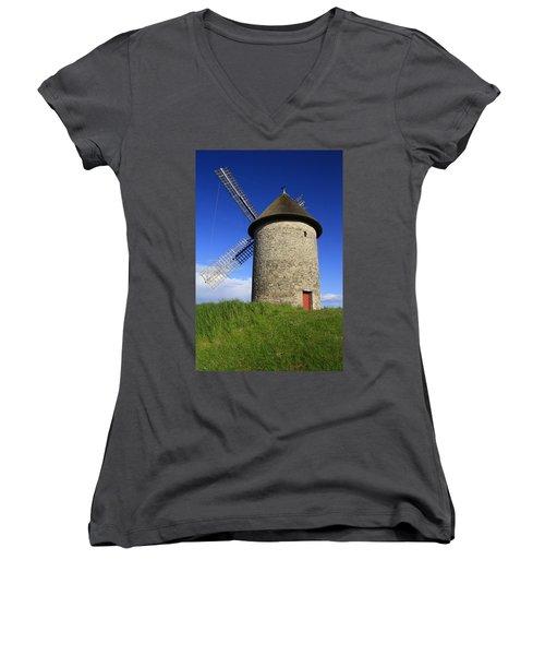 The Old Mill Women's V-Neck T-Shirt (Junior Cut) by Martina Fagan