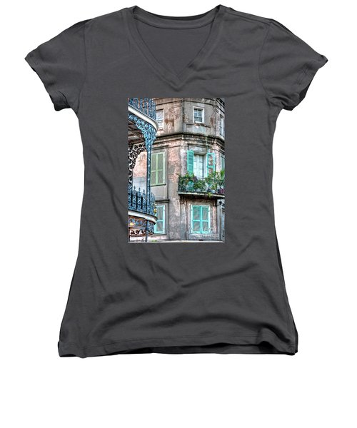 0254 French Quarter 10 - New Orleans Women's V-Neck (Athletic Fit)