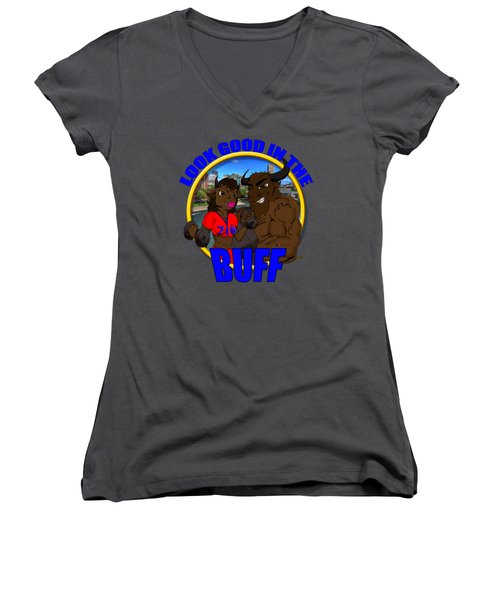 06 Look Good In The Buff Women's V-Neck T-Shirt (Junior Cut) by Michael Frank Jr