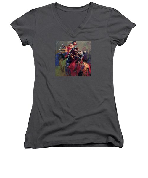062 Jima Marine Memorial Washington Dc Women's V-Neck T-Shirt (Junior Cut) by Maryam Mughal