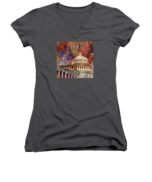070 United States Capitol Building - Us Independence Day Celebration Fireworks Women's V-Neck (Athletic Fit)