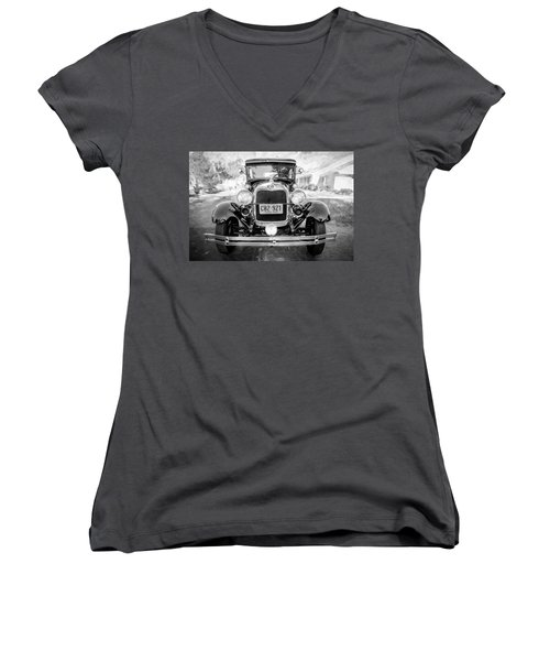 Women's V-Neck T-Shirt (Junior Cut) featuring the photograph 1929 Ford Model A Tudor Police Sedan Bw by Rich Franco