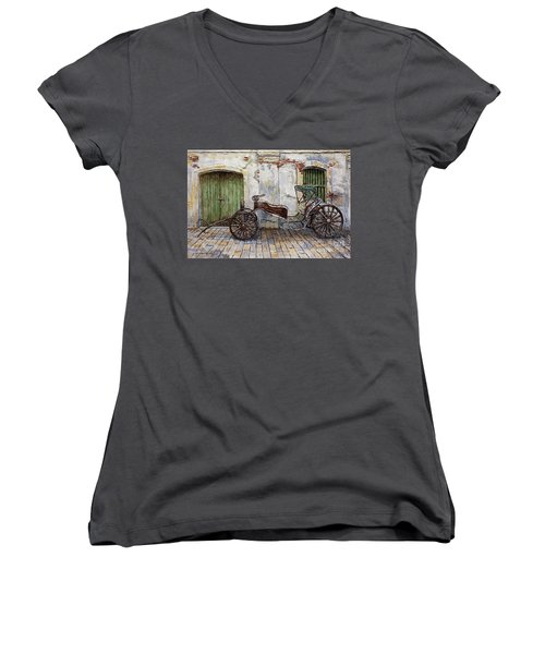 A Carriage On Crisologo Street 2 Women's V-Neck T-Shirt (Junior Cut) by Joey Agbayani