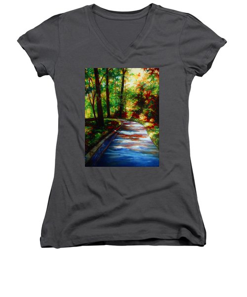 Women's V-Neck T-Shirt (Junior Cut) featuring the painting A Morning Walk by Emery Franklin