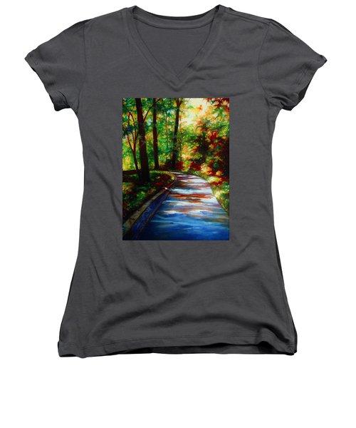 A Morning Walk Women's V-Neck T-Shirt (Junior Cut) by Emery Franklin