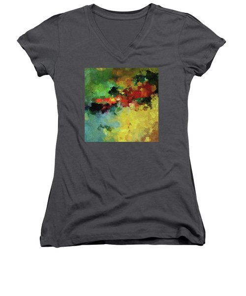 Women's V-Neck T-Shirt (Junior Cut) featuring the painting Abstract And Minimalist  Landscape Painting by Ayse Deniz