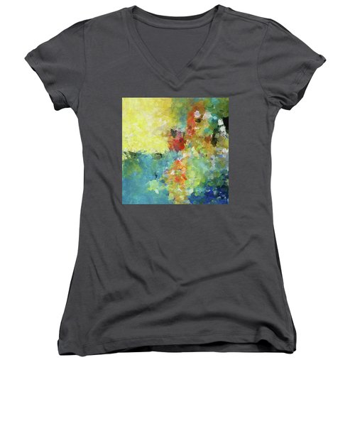 Women's V-Neck T-Shirt (Junior Cut) featuring the painting Abstract Seascape Painting by Ayse Deniz