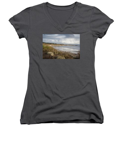 Across The Bay Women's V-Neck T-Shirt (Junior Cut) by David  Hollingworth