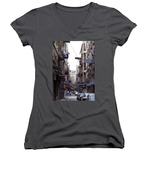Aleppo Street01 Women's V-Neck T-Shirt