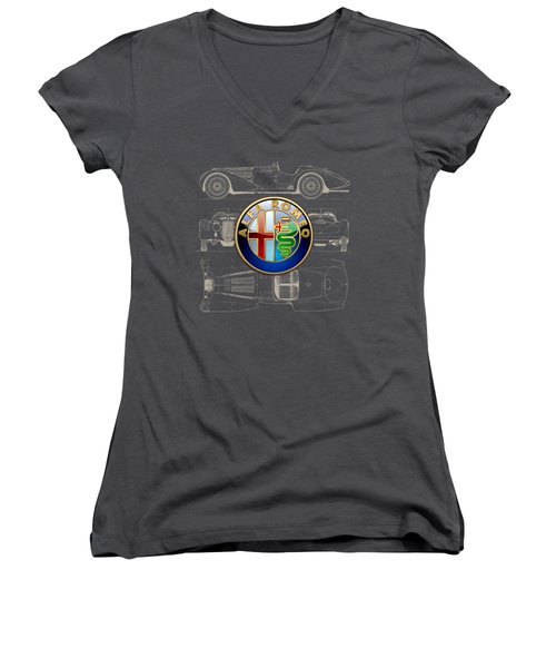 Alfa Romeo 3 D Badge Over 1938 Alfa Romeo 8 C 2900 B Vintage Blueprint Women's V-Neck T-Shirt (Junior Cut)