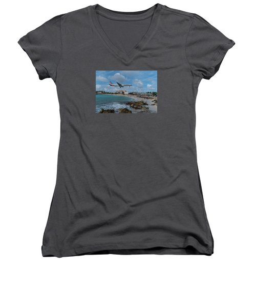 American Airlines Landing At St. Maarten Women's V-Neck T-Shirt (Junior Cut) by David Gleeson