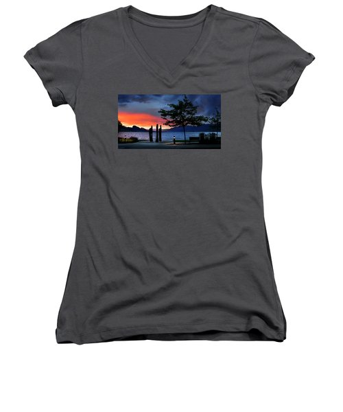 Women's V-Neck T-Shirt featuring the photograph A Sunset Story by John Poon
