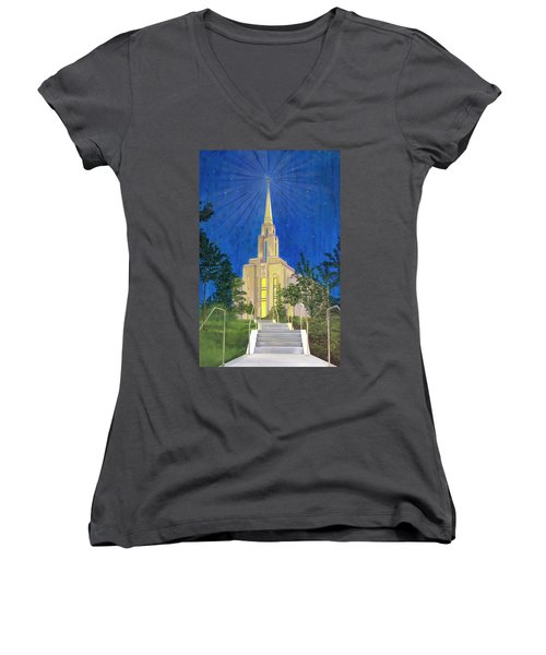 Women's V-Neck T-Shirt (Junior Cut) featuring the painting Angel Portal by Jane Autry