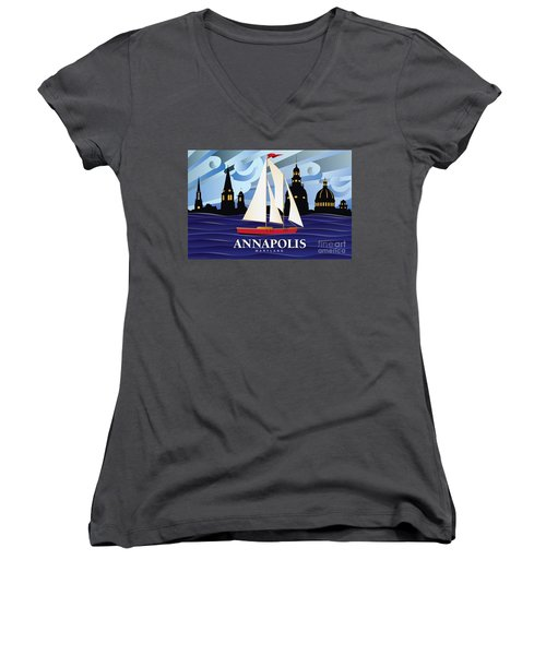Annapolis Skyline Red Sail Boat Women's V-Neck (Athletic Fit)
