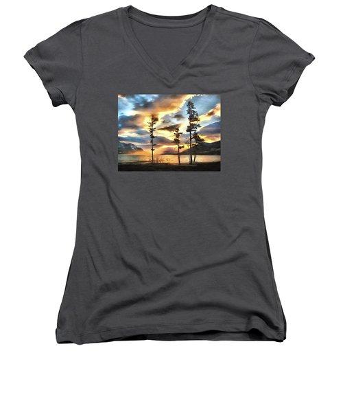 Women's V-Neck T-Shirt (Junior Cut) featuring the photograph Anniversary by Kathy Bassett