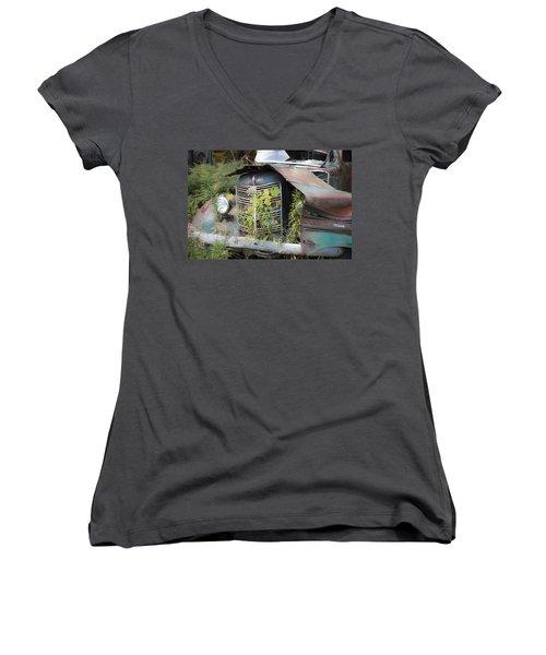 Antique Mack Truck Women's V-Neck T-Shirt (Junior Cut) by Charles Harden