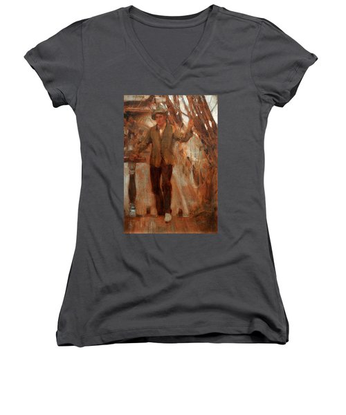 Women's V-Neck T-Shirt (Junior Cut) featuring the painting At The Break Of The Poop  by Henry Scott Tuke