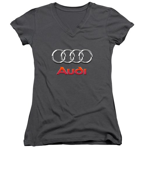 Audi - 3d Badge On Red Women's V-Neck T-Shirt (Junior Cut) by Serge Averbukh