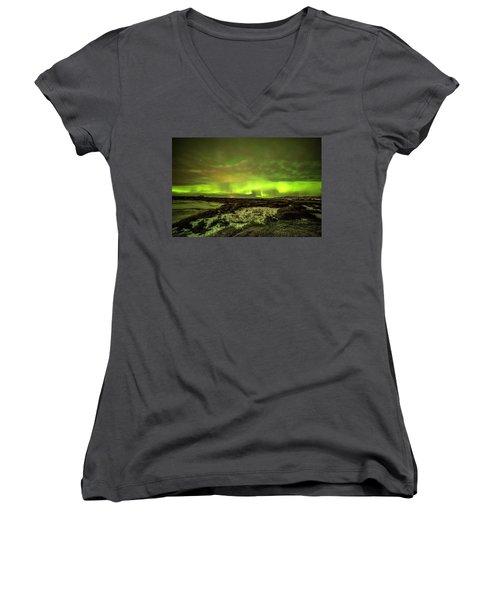 Aurora Borealis Over A Frozen Lake Women's V-Neck T-Shirt (Junior Cut) by Joe Belanger