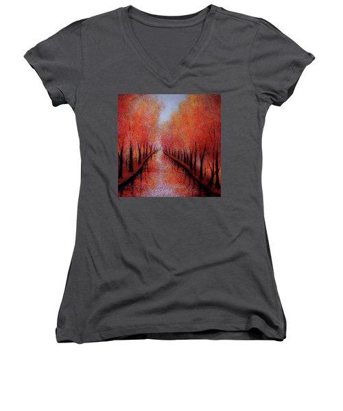 Autumn Colours  Women's V-Neck T-Shirt