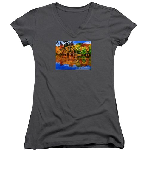 Autumn Serenity Painted Women's V-Neck T-Shirt (Junior Cut) by Diane E Berry