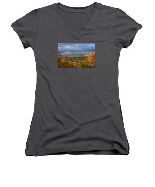 Autumn Splendor Women's V-Neck T-Shirt (Junior Cut) by Alana Ranney