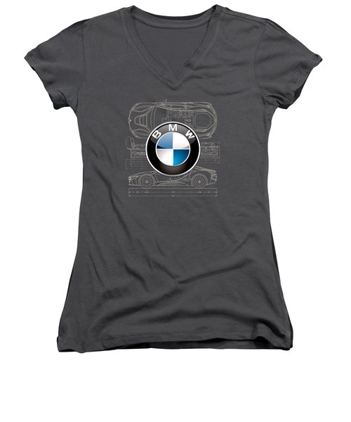 B M W 3 D Badge Over B M W I8 Blueprint  Women's V-Neck T-Shirt (Junior Cut) by Serge Averbukh